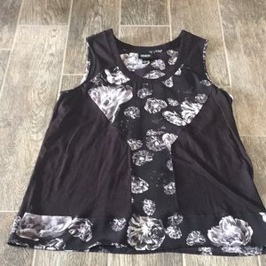Black and White Floral Tank